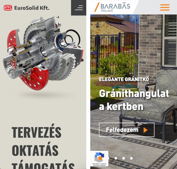 Az eurosolid.hu és a barabasteglako.hu honlapok mobil nézete