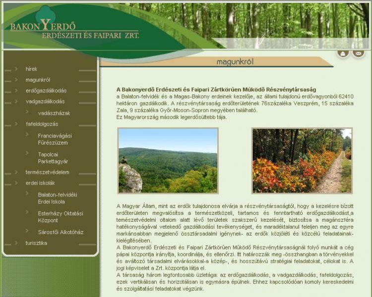 A második bakonyerdo.hu honlap