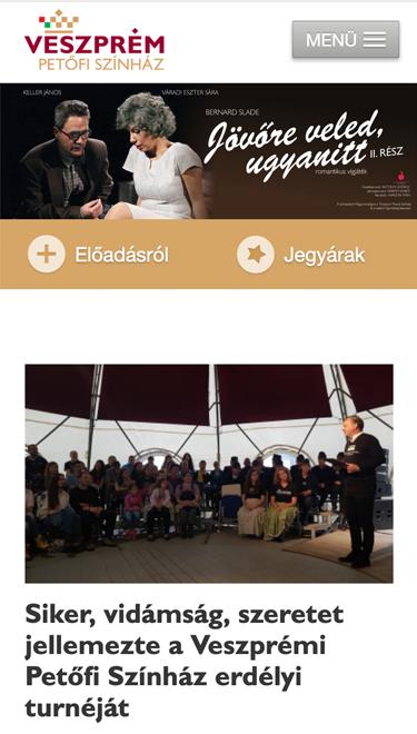 A petofiszinhaz.hu honlap mobil nézete