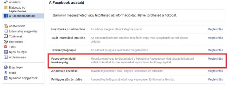 Facebookon kívüli tevékenység beállítása