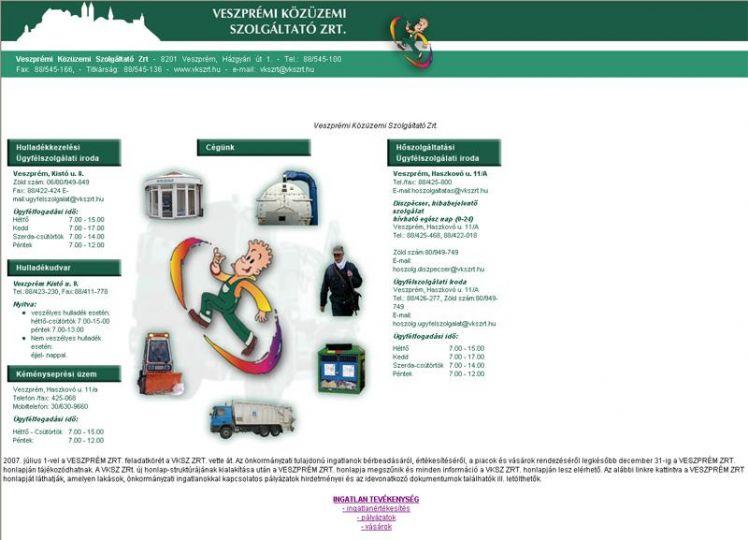 Az első vkszrt.hu honlap