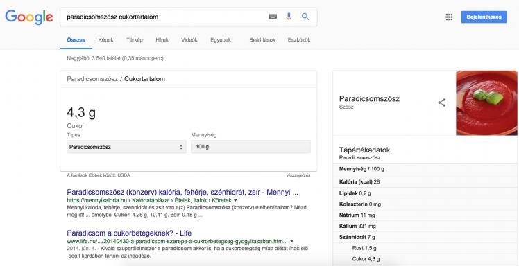 google keresés_tápanyagérték