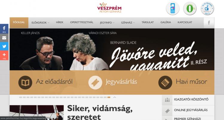 A petofiszinhaz.hu honlap asztali nézete